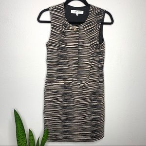 Trina Turk Striped Animal Print Shift Dress